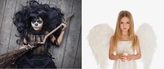 bambine vestite da strega e da angelo