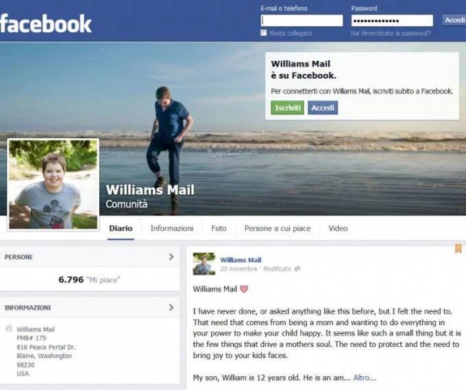 richiesta su facebook