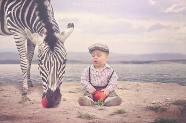 bimbo con zebra