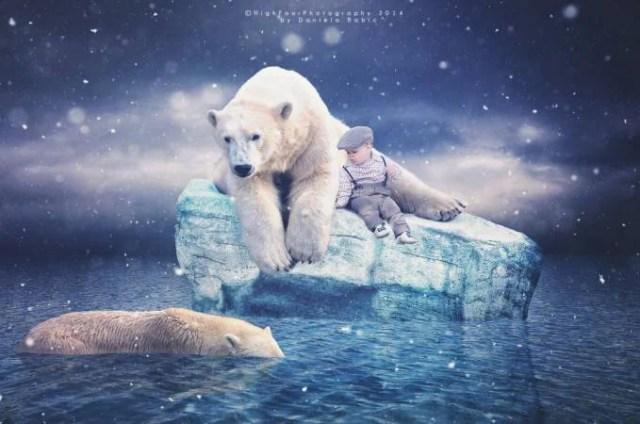 bimbo con orso bianco ghiacci