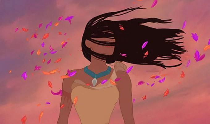 Pocahontas capelli davanti volto