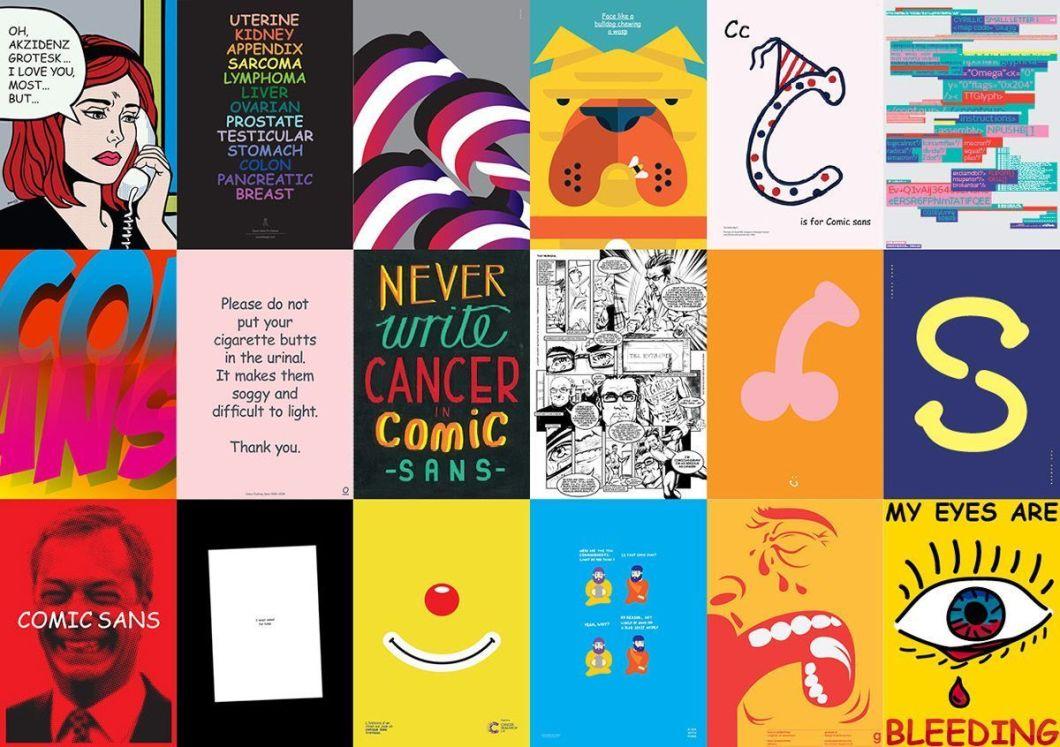 """Muestra de carteles """"Comic Sans contra el cancer"""""""
