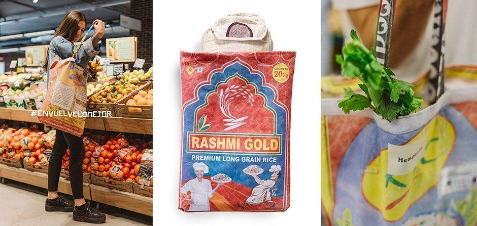Bolsas de arroz reutilizadas para envase de mochilas
