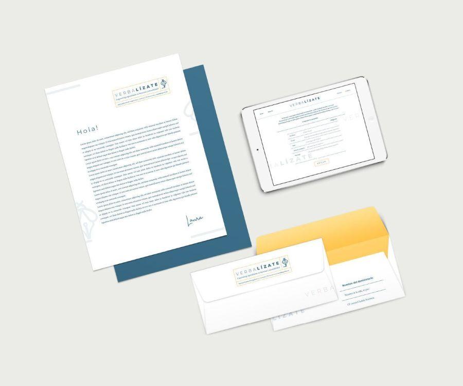 Propuesta papelería y diseño de página de contacto para Verbalízate