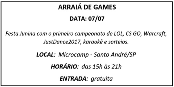 07 ARRAIA DE GAMES - Agenda