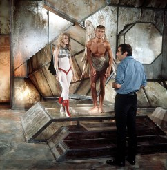 """Mandatory Credit: Photo by Rex Features ( 20383A ) ROGER VADIM WITH JANE FONDA ON THE SET OF """"BARBARELLA"""" 1967 VARIOUS - 1967"""