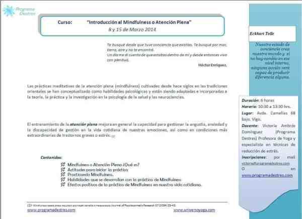 Introducción al Mindfulness, Atención Plena en Vigo