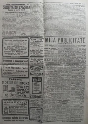 Ziarul Dimineata ; Director C - tin Mille , 5 August 1914 ; Iorga ; Razboiul 3