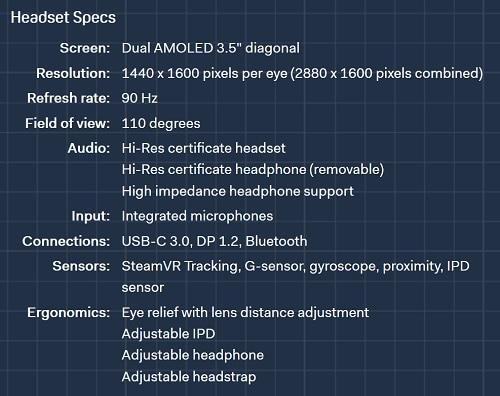 HTC Vive Pro spec
