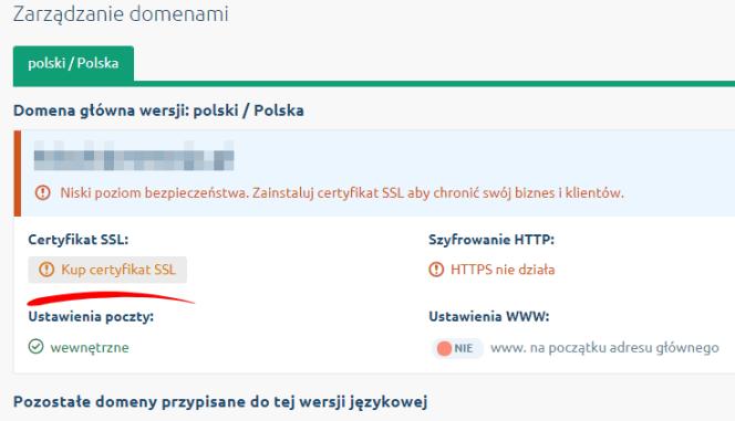 dodawanie SSL w panelu Shoper