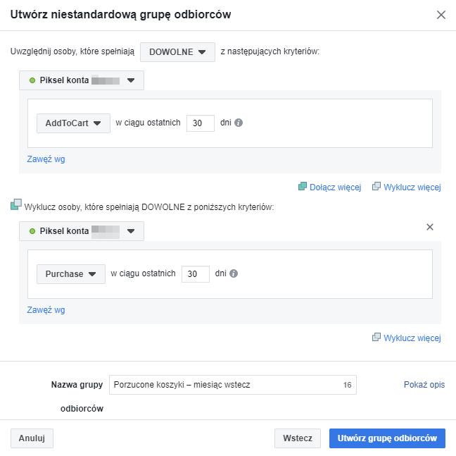 zdarzenia z piksela Facebooka