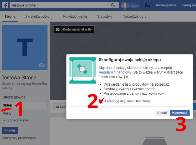uruchamianie sklepu na Facebooku