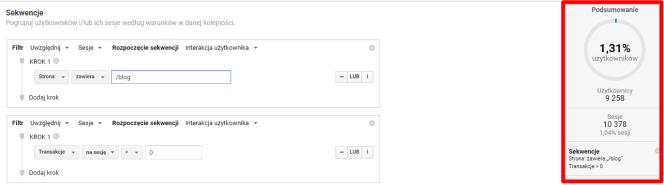 wyniki filtrów Google Analytics