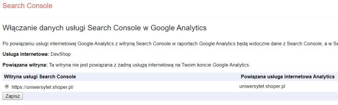 Google Search Console - Analytics