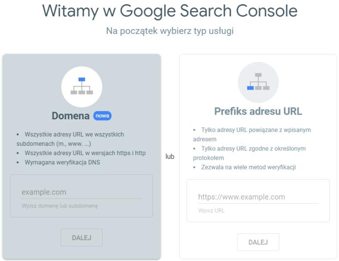 Typ usługi w Google Search Console