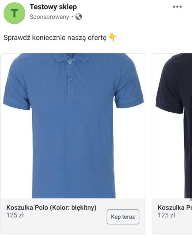 przykładowa reklama na Facebooku