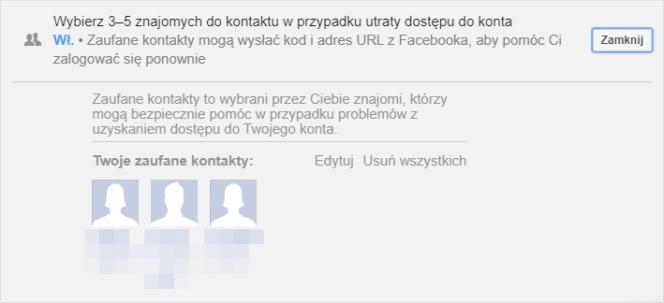 Zaufane kontakty na Facebooku