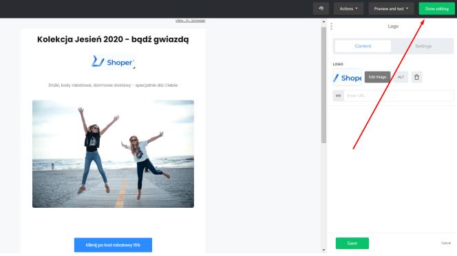 Przykładowy mailing w MailerLite