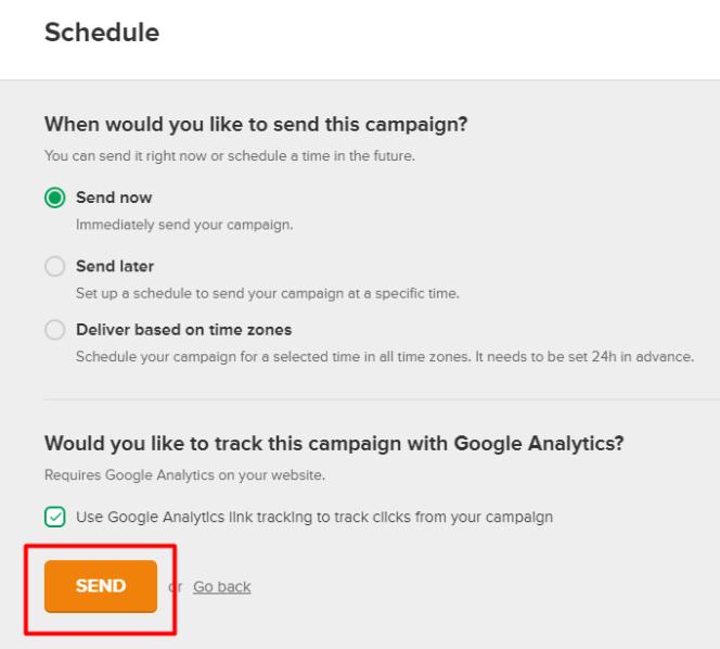 Opcja śledzenia kampanii w MailerLite