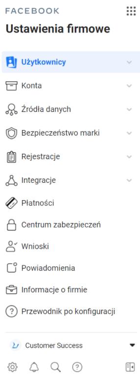 menu Menedżera Firmy na Facebooku