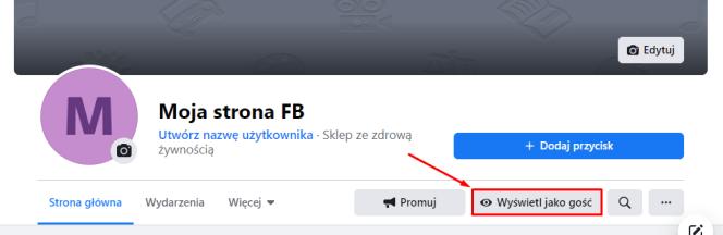 Wyświetl stronę na Facebooku jako gość