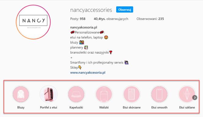 Profil Instagram z zapisanymi relacjami