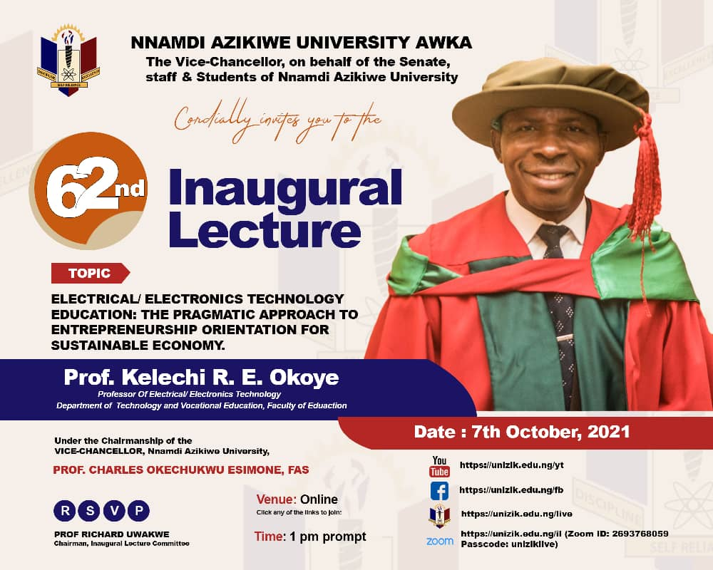 62nd Inaugural Lecture Series by Prof. Kelechi R. E. Okoye