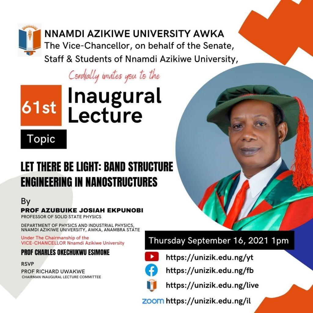 61st Inaugural Lecture Series by Prof. Azubuike Josiah Ekpunobi
