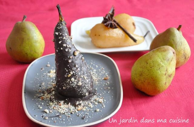 poires confites épices chocolat et pralin
