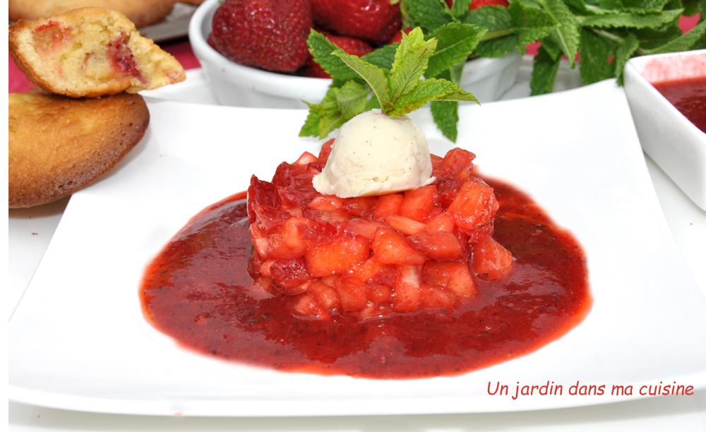 brunoise de fraises ananas coulis et madeleines