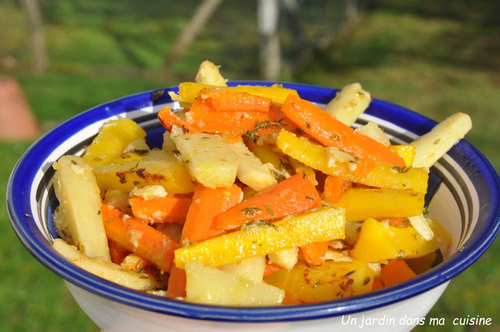 carottes sautées et panais à l'ail