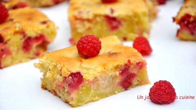 Gâteau rhubarbe framboises