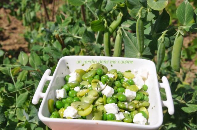 Salade de fèves petits pois feta et menthe