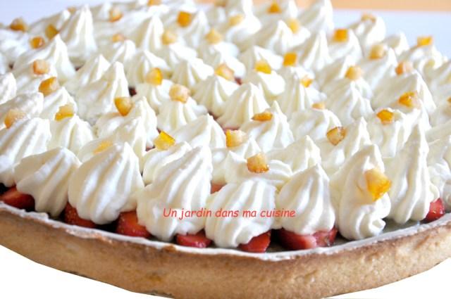 Tarte rhubarbe fraises crème chocolat blanc