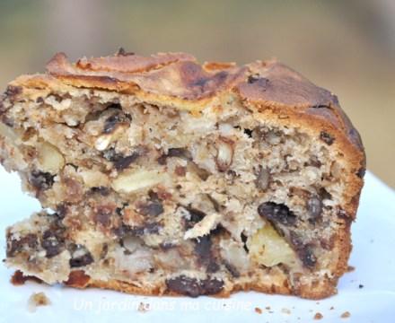 Gâteau noix pommes chocolat des affamés