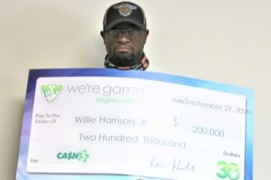 Two-time lucky: Willie Harrison wins a $200,000 jackpot from Virginia Cash 5 lottery just over 12 months after Winning $100,000 from the same game.