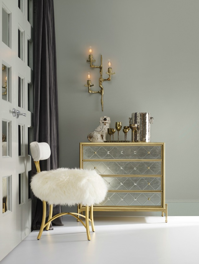 cynthia rowley for hooker furniture curious metal side chair with sheepskin accent chest