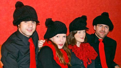 Josef Žák (Geige),  Eva Šušlíková (Bratsche), Adéla Mišoňová (Geige) und Viktor Slezák (Kontrabass, v.l.) sind SlovaCzech. Foto: SlovaCzech