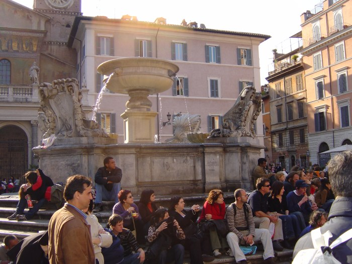 Piazza di Santa Maria in Trastevere, Rome. There were entertainers in the Piazza.
