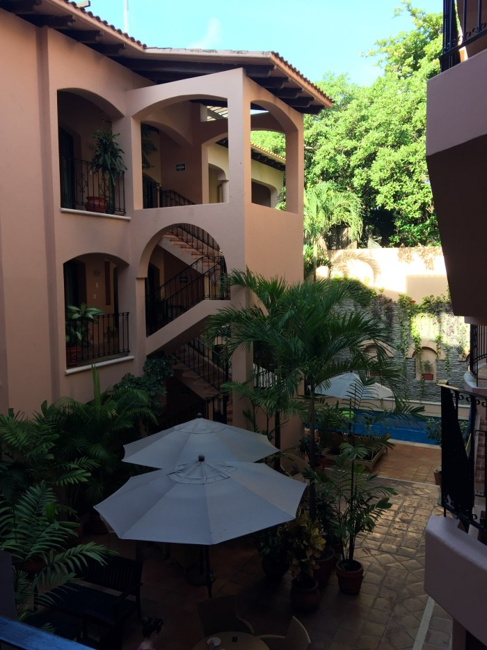The open courtyard of The Acanto Boutique Hotel.