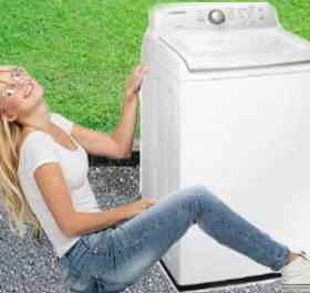 pulling the washer machine