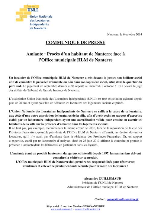 Communiqué de presse 2014-10-06 - Amiante, Procès Office-Habitant de Nanterre