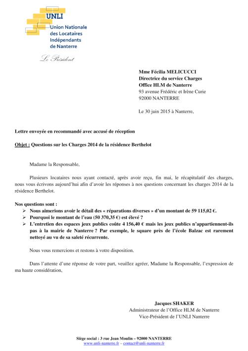 15-62&63 - Charges 2014 à Berthelot (Lettre)