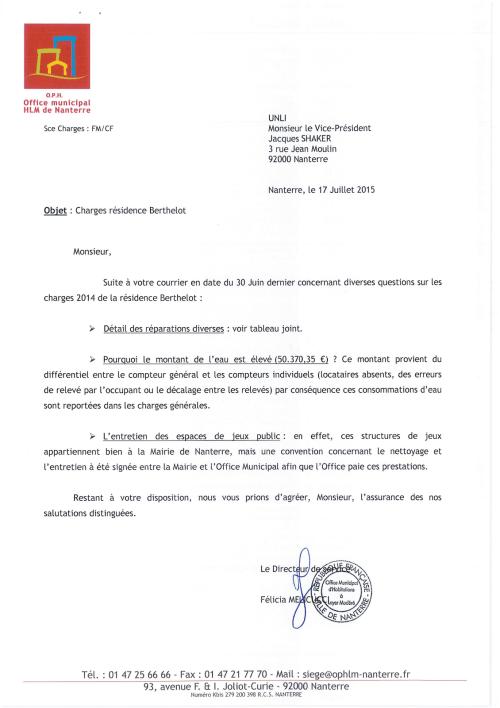 15-62&63 - Charges 2014 à Berthelot (Réponse)