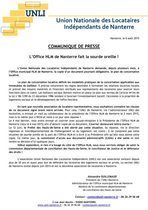 Communiqué de presse 2015-08-06 - L'Office HLM de Nanterre fait la sourde oreille !