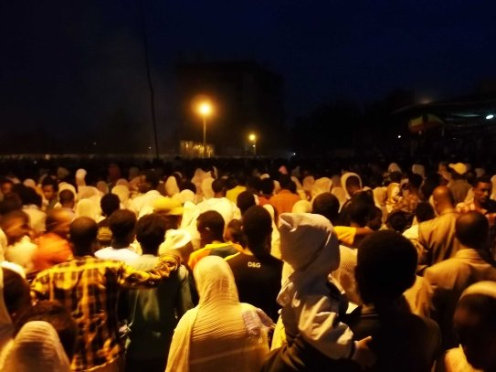 Hawassa - thousands of people at Meskel Eve