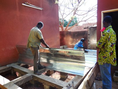 installation of corrugated iron sheets...