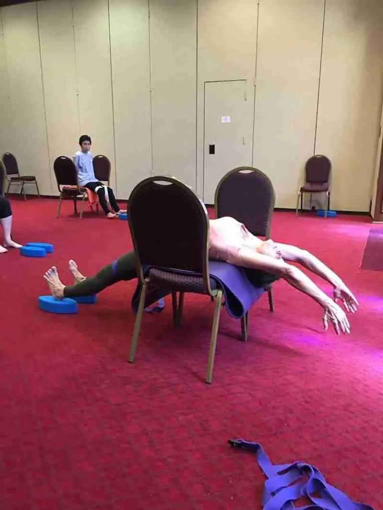 """""""Chakrasana Full Wheel Pose Lying Over 2 Chairs"""""""
