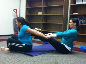 Partner Yoga, Catherine Carrigan With Yoga Student Alba Adrian