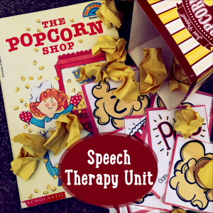 Speech Therapy Unit for Elementary Aged Students. The Popcorn Shop accompanied by a free TPT resource and some